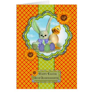 Great Granddaughter Cute Easter Card With Rabbit