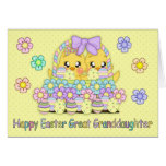 Great Granddaughter Cute Easter Chicks In A Basket Greeting Card