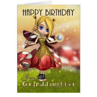 Great Granddaughter Cute Magical Fairy With wand Card