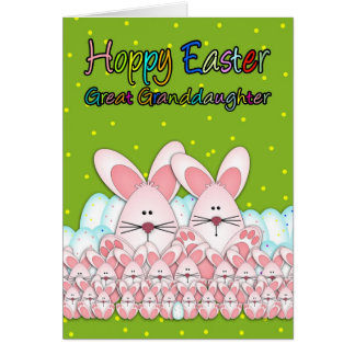 Great Granddaughter Easter Card With Easter Bunnie