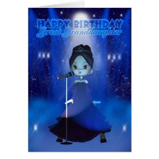Great Granddaughter Happy Birthday Singing Deva Cu Card