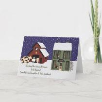 Great Granddaughter & Husband Prim Farm Christmas Holiday Card