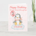 """Great Granddaughter Penguin Happy 2nd Birthday Card<br><div class=""""desc"""">A cute 2nd birthday Great Granddaughter baby penguin birthday card. The card features a baby girl penguin sitting on a cloud holding a balloon. A sweet design for a little girl who will be two years old. Add the child, s name to the front of the card to customize it...</div>"""