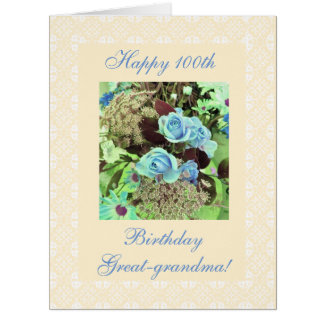 Great-grandma 100th birthday blue roses BIG Card