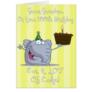 Great Grandma Eat More Cake 100th Birthday Card