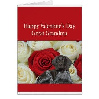 Great Grandma  Glossy Grizzly Valentine Puppy Love Greeting Card