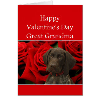 Great Grandma  Glossy Grizzly Valentine Puppy Love Card