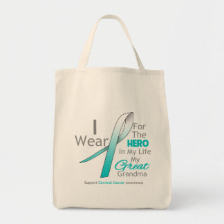 Great Grandma - Hero in My Life - Cervical Cancer Grocery Tote Bag