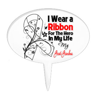Great-Grandma Hero in My Life Lung Cancer Cake Topper