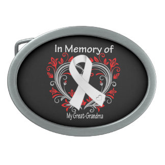 Great-Grandma - In Memory Lung Cancer Heart Oval Belt Buckle