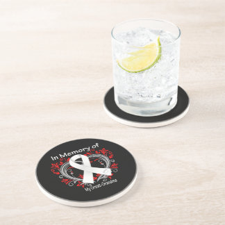 Great-Grandma - In Memory Lung Cancer Heart Drink Coaster