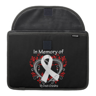 Great-Grandma - In Memory Lung Cancer Heart Sleeves For MacBooks