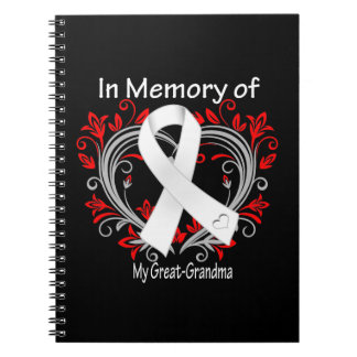 Great-Grandma - In Memory Lung Cancer Heart Spiral Note Books