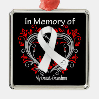 Great-Grandma - In Memory Lung Cancer Heart Christmas Tree Ornaments