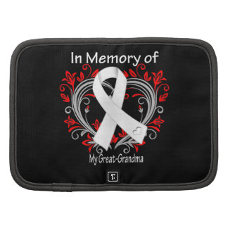 Great-Grandma - In Memory Lung Cancer Heart Folio Planner