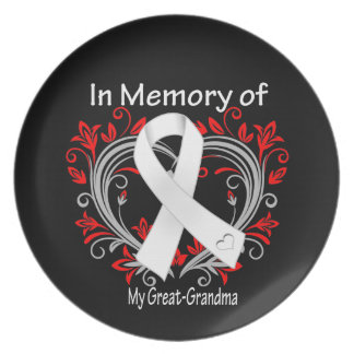 Great-Grandma - In Memory Lung Cancer Heart Plate