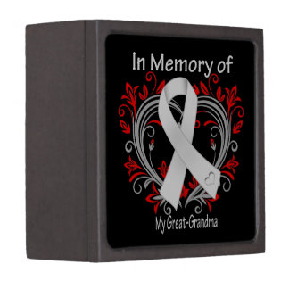 Great-Grandma - In Memory Lung Cancer Heart Premium Jewelry Boxes