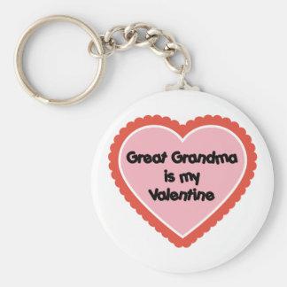 Great Grandma is My Valentine Basic Round Button Keychain