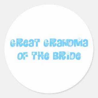 Great Grandma of the Bride Classic Round Sticker