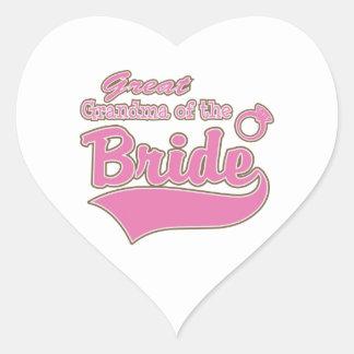 Great Grandma of the Bride Heart Sticker
