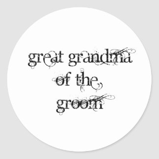 Great Grandma of the Groom Classic Round Sticker