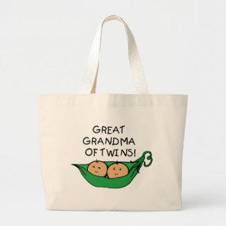 Great Grandma of Twins Pod Jumbo Tote Bag