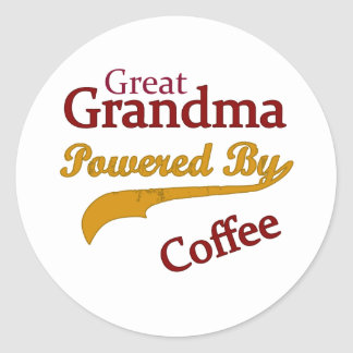 Great Grandma Powered By Coffee Classic Round Sticker