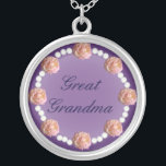 """Great Grandma Roses and Pearls Necklace<br><div class=""""desc"""">Round necklace with roses and pearls for your favorite lady!</div>"""