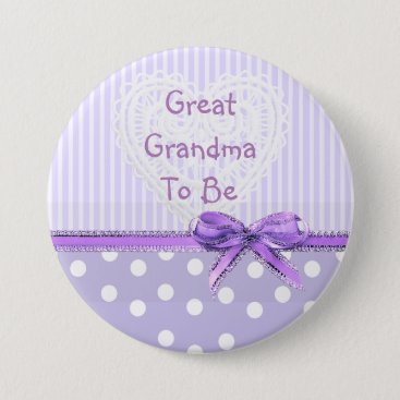 Toddler & Baby themed Great Grandma to be Baby Shower Button: Purple Bow Pinback Button