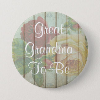 Great Grandma to be rustic  Baby Shower Button