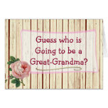 Great Grandma Vintage Rose Baby Announcement Card