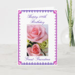 "Great-grandma's 100th Birthday Card<br><div class=""desc"">Picture of pink and blue flowers on white background. ""Happy 100th Birthday great-grandma""  ""We are so blessed to have you in our lives! We love you!"" Personalize your message!   Photography by Maria Santos (Lusinhas do Sul)</div>"