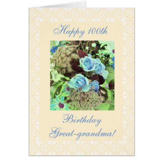 Great-grandma's 100th birthday flowers freesia BIG Card