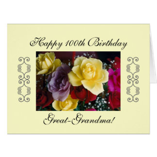 Great-grandma's 100th birthday LARGE Card