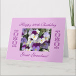 """Great-grandma's 100th birthday Large Card<br><div class=""""desc"""">Photo of beautiful pansies : """"Happy 100th Birthday Great-Grandma!""""; """" It is such a blessing to have you in our lives. Happy 100th birthday! We love you!"""" Photography by Maria Santos (Lusinhas do Sul)</div>"""
