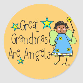 Great Grandmas Are Angels Gifts (Afro-American) Classic Round Sticker