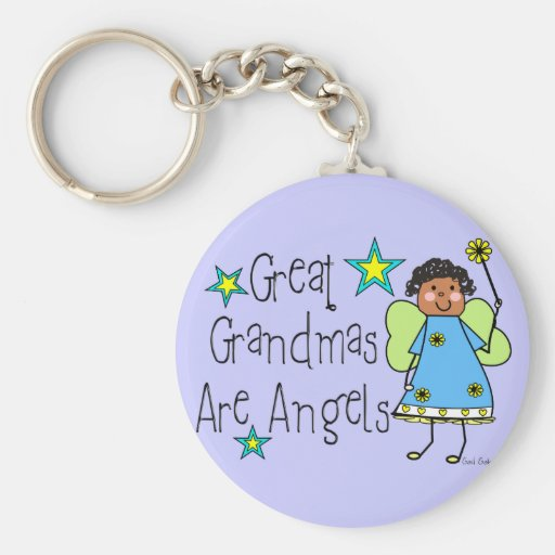 Great Grandmas Are Angels Gifts (Afro-American) Keychains
