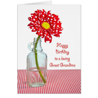Great Grandma's Birthday Polka Dot Daisy Card