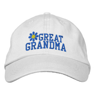 Great Grandmother Blue Flower Embroidered Hat
