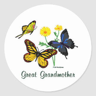 Great Grandmother Butterflies Classic Round Sticker