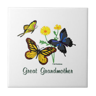 Great Grandmother Butterflies Small Square Tile