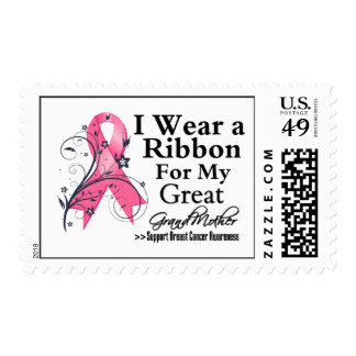 Great-Grandmother Floral Ribbon - Breast Cancer Stamps