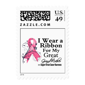 Great-Grandmother Floral Ribbon - Breast Cancer Stamp