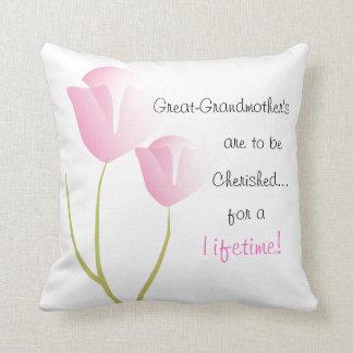 Great-Grandmother Pillow Pink Tulips
