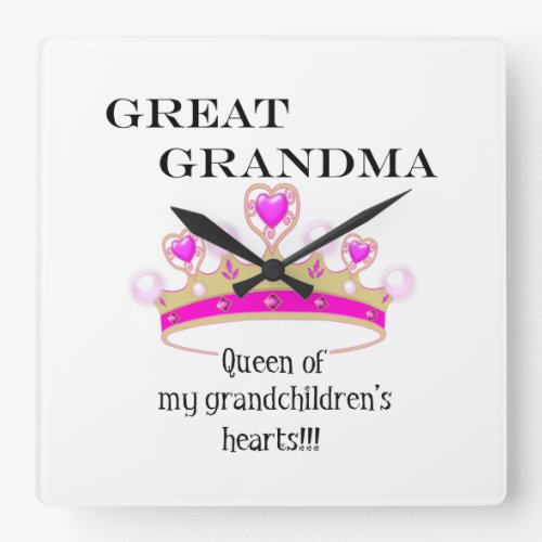 Great Grandmother Queen of Hearts Square Wall Clock