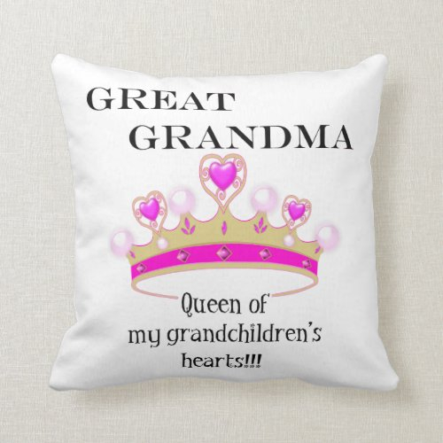 Great Grandmother Queen of Hearts Throw Pillow