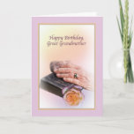 """Great Grandmother's Birthday Card<br><div class=""""desc"""">A woman's aged hands,  a rose,  and a worn Bible are a fitting tribute to a special great-grandmother's birthday.</div>"""