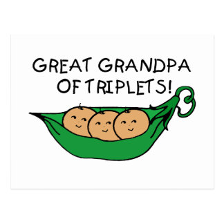 Great Grandpa of Triplets Pod Postcard