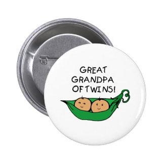 Great Grandpa of Twins Pod Pinback Button
