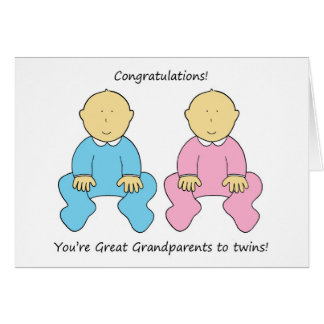 Great Grandparents to twins, congratulations. Card